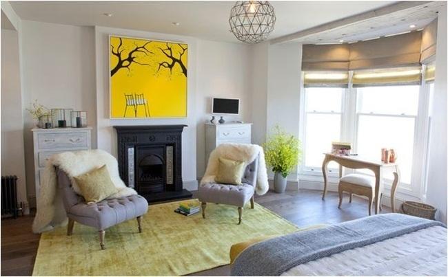 Trang trí phòng màu vàng thu vàng ấm áp