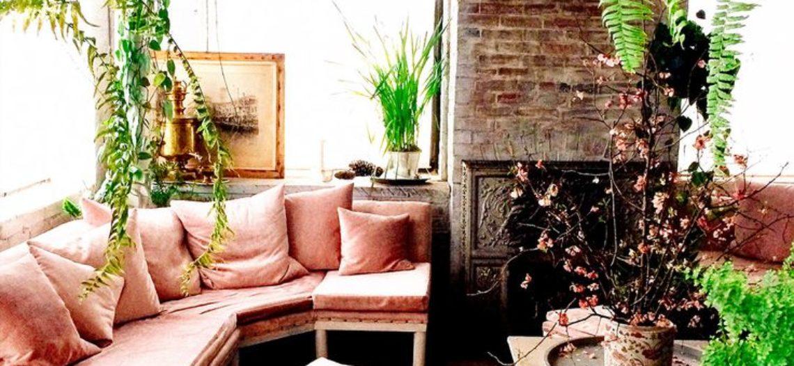 Ghế sofa phòng khách màu hồng tuyệt đẹp