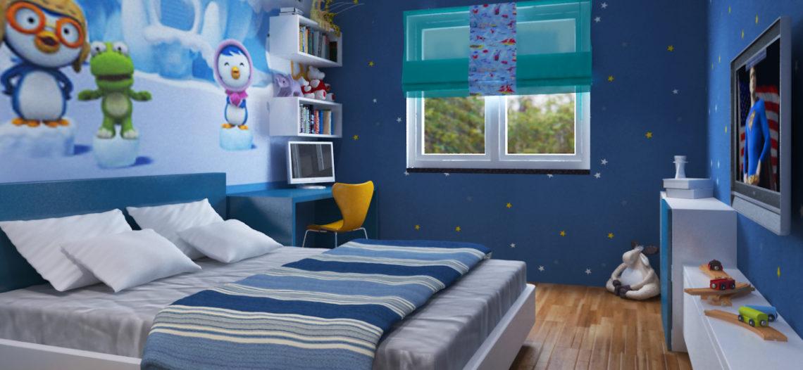 Giường ngủ cho bé trai với gam màu xanh dương