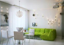 Mát dịu mùa hè với sofa màu xanh lá cho phòng khách