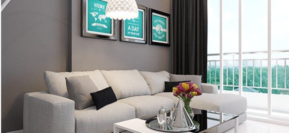 Phòng khách sang trọng với sofa màu ghi