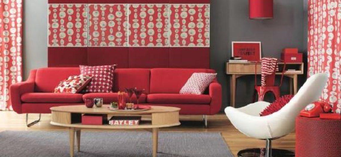 Sofa màu đỏ cá tính cho phòng khách thêm hiện đại
