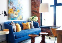 Sofa màu xanh dương cho nội thất phòng khách hiện đại