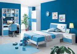 Thiết kế nội thất phòng ngủ cho bé trai với gam màu xanh dương