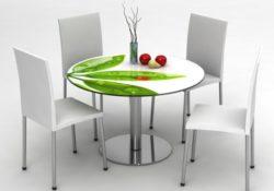 Độc đáo với mẫu bàn ăn tròn mặt kính cho gia đình bạn