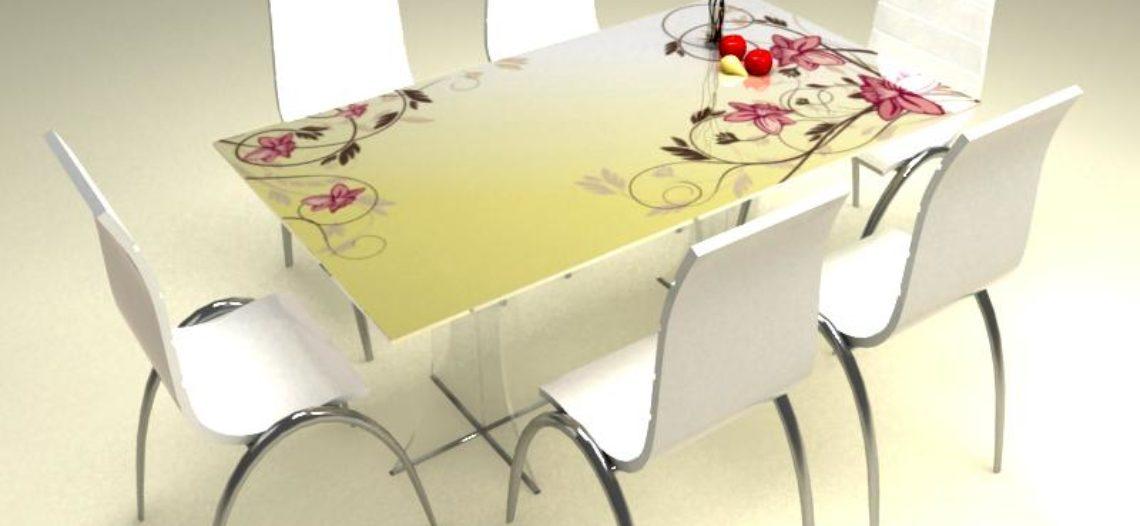 Kính bàn ăn vẽ hoa văn- Sự lựa chọn tinh tế từ mọi góc nhìn