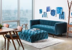 3 loại sofa nhung màu xanh dương đẹp mắt cho phòng khách