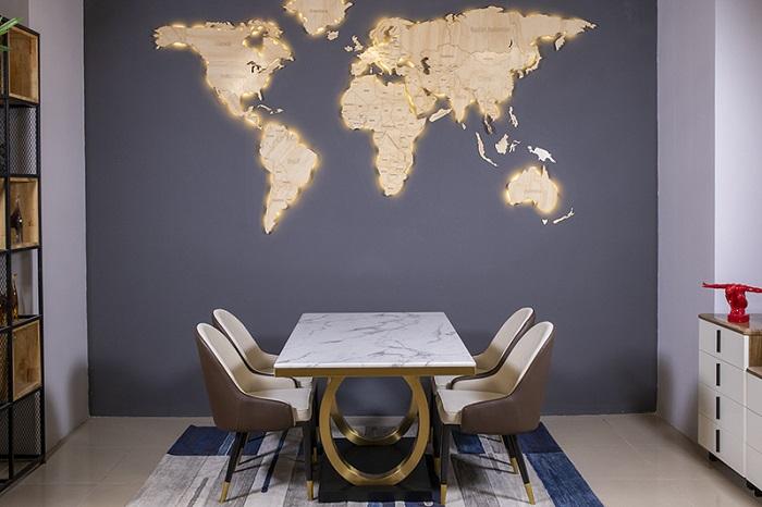 bộ bàn ăn 4 ghế mặt đá 075