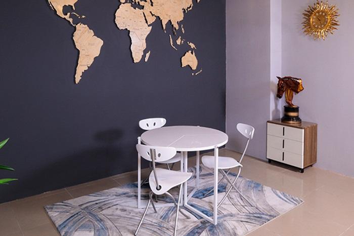 bộ bàn ăn thông minh 4 ghế gấp gọn b2389