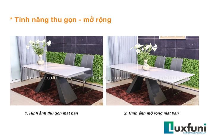 bàn ăn 6 ghế thu gọn mở rộng