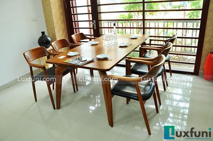 bộ bàn ăn 6 ghế mặt gỗ