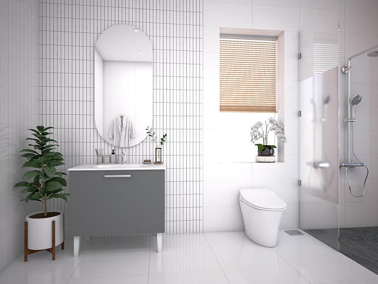 Phòng tắm hiện đại tone màu trắng