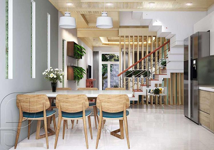 Thiết kế nội thất phòng ăn liền bếp